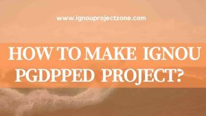 HOW TO WRITE IGNOU PGDPPED  PROJECT REPORT?